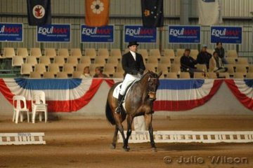 Unlike past Melbourne 3DE's there are no VIP tables in the indoor. This year tiered seating replaces the normal tables. Here Victorian Mark Slater enters the arena riding his TB Astro, they scored 59.6 in the CCI**.