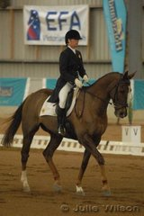 South Australian, Veronica Hoile rode her TB, Chester, to score 54.6 and hold overnight eigth place after the dressage of the CCI**.