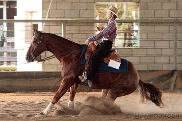 What A Hug & Tania Powell competing in the JFT Excavations & Cabling Horse 5 Years & Over Reining.
