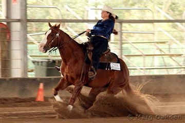 Rock On Cody & Kathy Boske seriously hit the skids in the Robertson's Fabrications Rookies Reining.