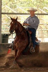 Rocks Little Leo & Brad Hargreaves contest the Robertson's Fabrications Rookies Reining.