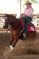 Oaks Colonel Hollywood & Haley Backhouse in the JFT Excavations & Cabling Horse 5 Years & Over Reining.