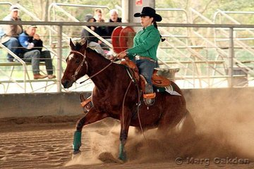 The champions of the Robertson's Fabrications Rookies Reining event were Docs Be Quick & Jemma Gibbs.