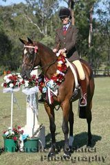 Melanie Farrand and 'Mesmerize' took out the Champion Ridden Newcomer Large Hack Of The Year