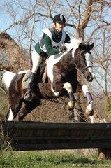 Alydia Macklan and 'Khan' from Kergunyah Pony Club demonstrate good form during their cross-country round.