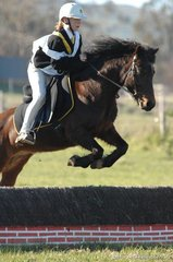 Ebony Schultz and 'Pippy' put in a good jump for the Caniambo Pony Club during the Grade 4B cross-country.