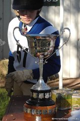 Mansfield Pony Club rider, Stephanie Ward looks with great interest at the North Eastern Zone Junior Challenge Cup.