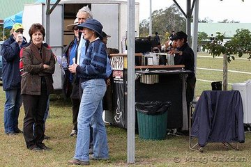 With the first day of the Great South East Dressage Championships being very chilly & damp, the hot coffee vendor was very popular indeed.