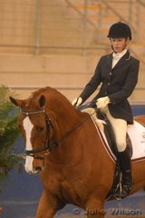 Amy Sauter rode her warmblood Northern Achilles by Falkland Victory  to fifth place in the Dressage NSW Scholarship Riders 16 years and over.