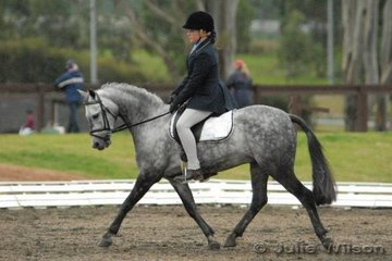 Lana Babazolli and Tambaroora Millenium Max competed in the International Animal Health Pony Preliminary 1.3 for seventh place with 67.80%.