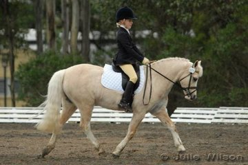 Emma Copley from Werribee, Victoria rode her well performed Welsh mare, Imperial Corona to take second place in the International Animal Health Pony Preliminary 1.4 with 67.80%.