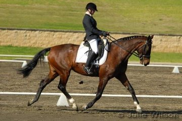 5th 2.3 63.6  Katrina Meyn rode Dandy Park Gabrielle by Gullit to place fifth in the Agnes Banks 2.3 on a score of 63.6%.