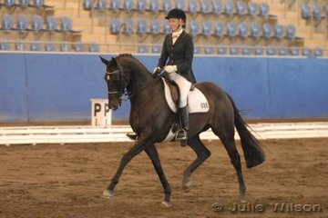 Megan Bryant rode Answers  in the Australian Warmblood Horse Association NSW Branch FEI Junior Individual.