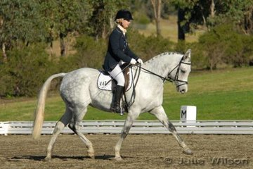 1st 2.4 68  Vanessa Midwinter rode Karadam Desire to win in the Equissentials Pony Novice 2.4 on a score of 68%.