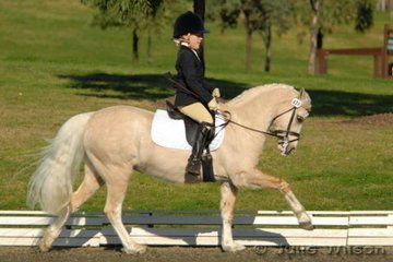 Victorian rider Emma Copley and her Welsh pony Imperial Corona during the Novice EFA 2.3 NSW State Pony Dressage Championships.