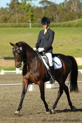 Shannon McKimmie rode her Don Shiraz to second place in the Horze Australia Medium 4.3 with a score of 72.7%.