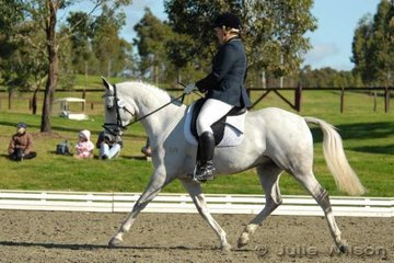 Peta Cormack rode Little Paddocks Gift to place second in the NSW State Pony Championships Novice EFA 2.3 on a score of 68.8%.