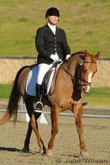 Alison Cox rode Tayco Sir Dynamo to win the NSW State Pony Dressage Medium EFA 4.3.