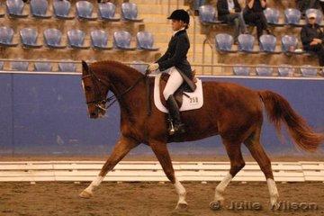 Sancha Butler rode Gaucho II in the Australian Warmblood Horse Association FEI Young Rider Freestyle.