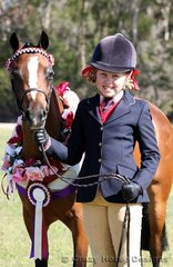 All smiles- Jordan Swift showed Wattles Jezzabelle to a Champion in Led Small Pony