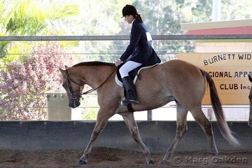 Mel Smith's Cayuse Red N Reckless was ridden by Kerris Holzberger to the championship in the 2 Year Old Hunter Under Saddle class.