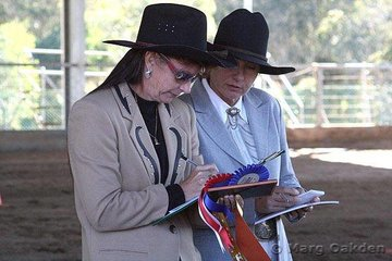 Giving the results to her steward is the halter & western performance judge for the 2007 Queensland Appaloosa State Show, Conny Barry, from Victoria.