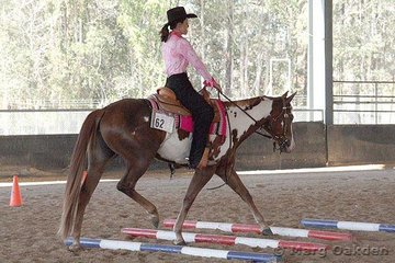 Jessie Fyfe-Farrell guides Rosies Magic Alaround over the jog poles in the Senior Youth Trail class at the 2007 SEQPHC Paint-O-Rama.