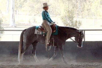 My Only Exception & Meredith Rehn competing in the 4 & 5 Year Old Western Pleasure at the 2007 SEQPHC Paint-O-Rama.