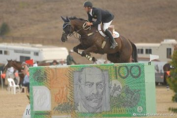 2006 NSW Showjumping Council Futurity winners, Lachlan Manuel and 'Odyssey Park Orthodox' jumping the money during the final Silver Series qualifier.