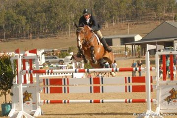 Local Beaudesert boy, Adam Mellers with the impressive imported mare, 'Tara Ni Quidam' jumping in the last Silver Series qualifier.