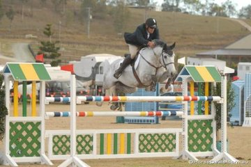 All the way from Western Australia, David Dobson with the Indoctro gelding, 'Argyle Stables Indigo' jumping in the final Silver Series qualifier.
