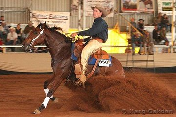 Peter Bartolo's Happy Gilmore & Warren Backhouse put in a great stop during their run in the first go-round of the Open Futurity at the Reining Australia Futurity & National Championship Show held in Gatton, Queensland.