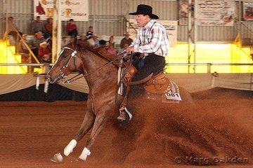 Cameron Halliwell rode his own filly, Lethal Katie, into a spectacular stop during their run in the first go-round of the Open Futurity.