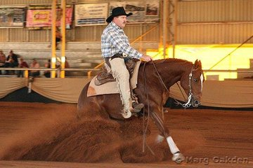 Pep Cee Cool & Chris Bell put their best foot forward in the first go-round of the Non-Pro Derby at the Reining Australia Futurity & National Championship Show.