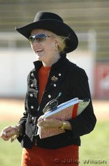 Happy in her work. Newly appointed EKKA Ringmaster, Jan McMillan keeping her eye on the first day action. We think Jan is the first woman to be appointed a Ringmaster at a Royal Show in Australia. Certainly a positive blow for the 'sisterhood'.