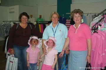 Well known showing competitors and judges Bet Chibnall, Margaret & Elizabeth Fricker doing some serious retail therapy.  Whilst it's not as much fun as riding, twins Victoria and Caitlin took advantage of the face painting.