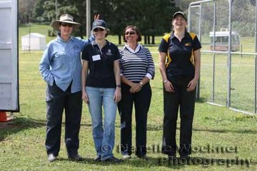 Team of Research Veterinarians Dr Anne Barnes from Murdock University WA, Dr Jenni Kingston from Qld University, Vetpath Lab Pathologist Sue Beetson and Veterinary 3rd year student Narelle Thompson took a moment during their tests in progress of the horses prior to the ride. They are currently carrying out research into how endurance horses respond to different methods of feed and suppliments checking electrolytes, blood samples and muscle damage
