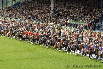 The most impressive part of the Opening Ceremony were the 64 Stallions from the ten German State Studs. They performed an elaborate quadrille, with the enthusiastic crowd clapping along. The spectators made Australian horse shows crowds seem very staid indeed.