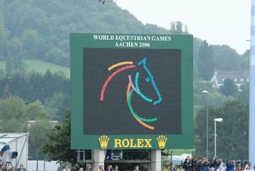 The Aachen WEG logo represents the colours of the seven disciplines involved. Dressage, Show jumping, Eventing, Endurance, Reining, Vaulting and Marathon Carriage Driving.