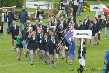 Recognise anyone you know? The Australian Team march in the opening ceremony with Phillip Dutton carrying the flag.