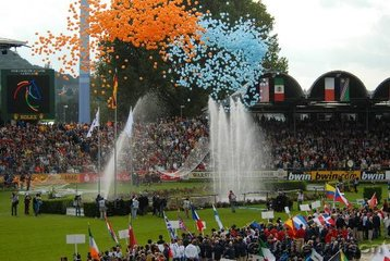 Balloons were let loose in all seven colours of the seven disciplines.