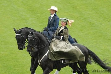 Many riders came into the arena representing the history of Aachen and horses. This elegant sidesaddle pair are in period costume.