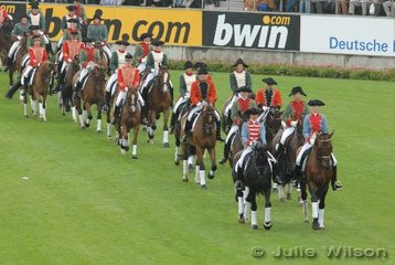 These riders represent Napoleon's influence in Aachen and are wearing French Cavalry costumes.