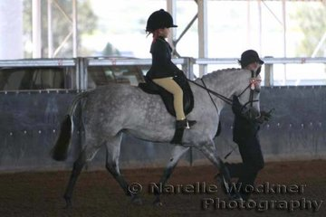 Working out in great style to win the Rider Under 6 Years To Be Led, Kayla Webb