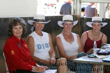 The hardworking girls behind the scene Vicky Lane, important assistant to husband Angus, Show Announcer, Liz Doggett, Kim & Carlee Taunton, members of the Show Committee