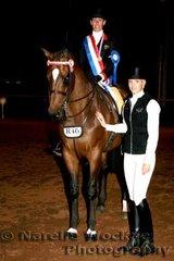 Champion Adult Rider Karen Shaw with sponsor representative Sarah Godfrey for Durante Riding Academy