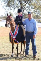 Reserve Champion Large Pony Of The Year 'Morningside Step Ahead' ridden by Sabrina Durante with  Don the Hygain Sponsor Qld Territory Manager