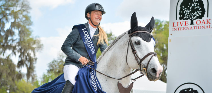 Kristen Vanderveen (USA) claims her first Longines victory with an uncatchable jump-off aboard Bull Run's Faustino de Tili at the Longines FEI World Cup™ Jumping 2017/2018 Ocala (USA). (FEI/Erin Gilmore)