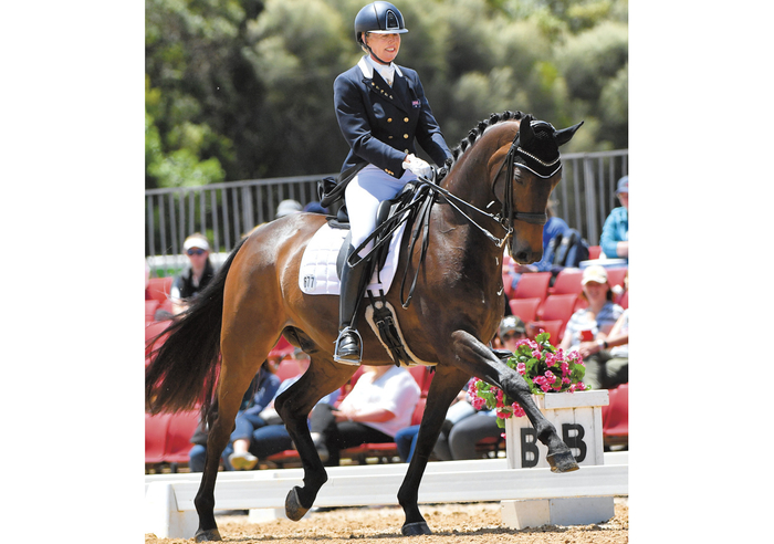 Winners of the FEI Grand Prix Special at the 2017 Boneo Classic, Boogie Woogie 6 and Mary with a score of 71.588%.<br> Photo: www.derekoleary.com.au