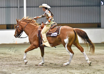 Julie noonan on sadalbar leeroy brown  competing in the ranch riding